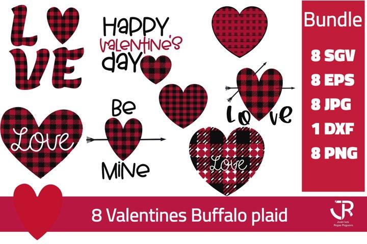 Valentines day buffalo plaid bundle PNG SVG JPG EPS DXF