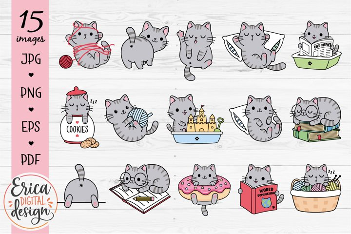 Funny Cats Clipart Bundle 15 cute images Gray cats Animals