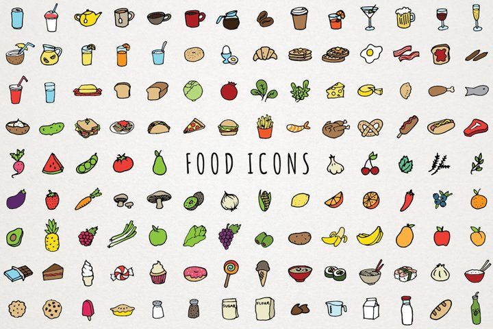 Food Icons Hand Drawn Clip Art