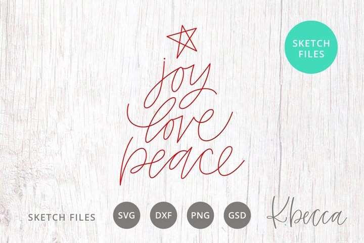 Foil Quill Sketch Joy Love Peace Christmas Tree SVG