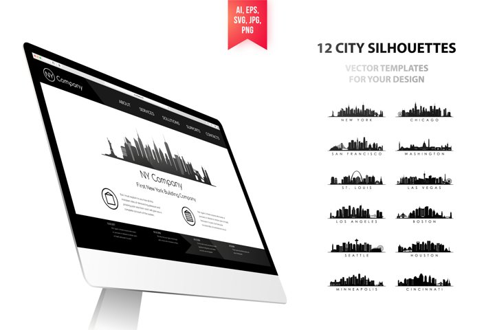 Set of 12 American city skyline. Vector design template.
