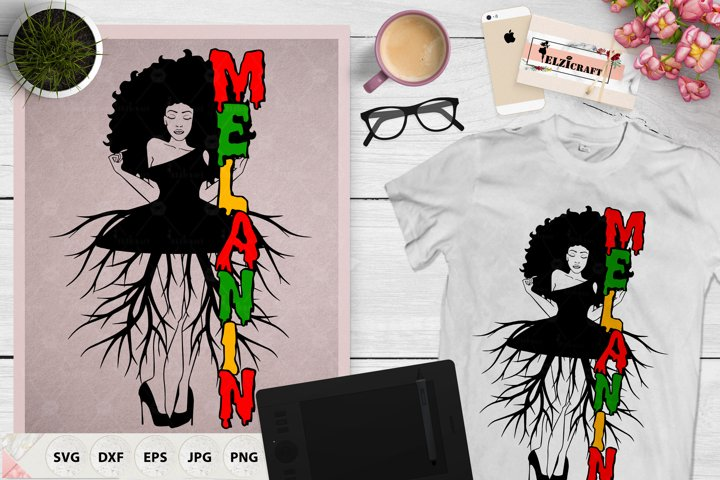 Afro Woman Roots, Melanin, Black History Month SVG