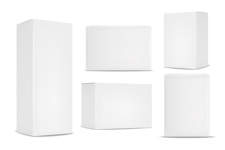 Realistic white box vector, mochup