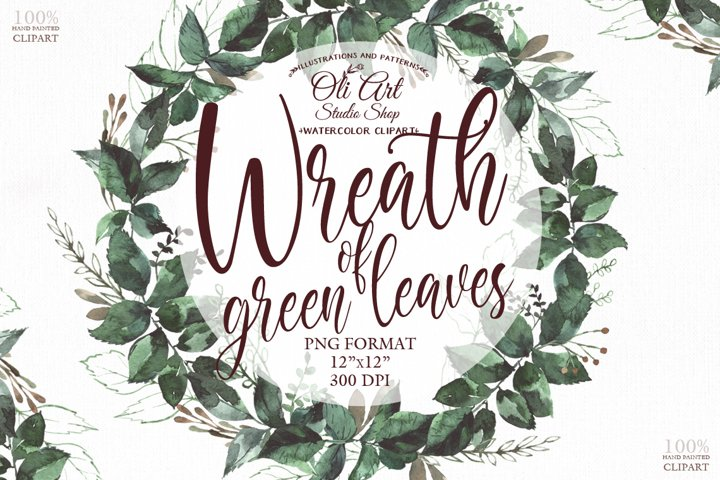 Watercolor green wreath png