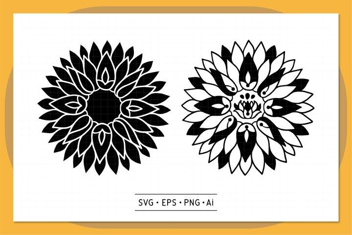 Sunflower Mandala SVG - V1