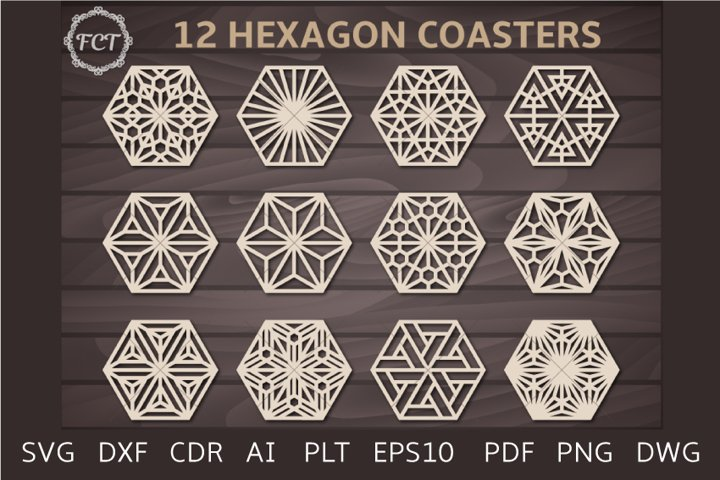 12 Hexagonal Coaster templates set Kumiko pattern panel