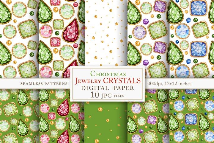 Jewelry Crystal seamless pattern Watercolor set