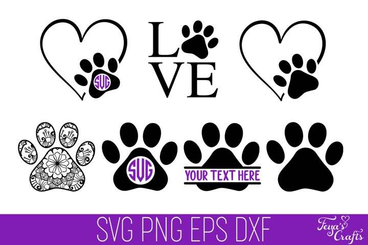 Dog Paw Print SVG | Heart Paw Print