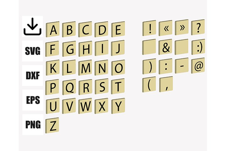 FONT inspired by scrabble, 26 letters an 14 signs