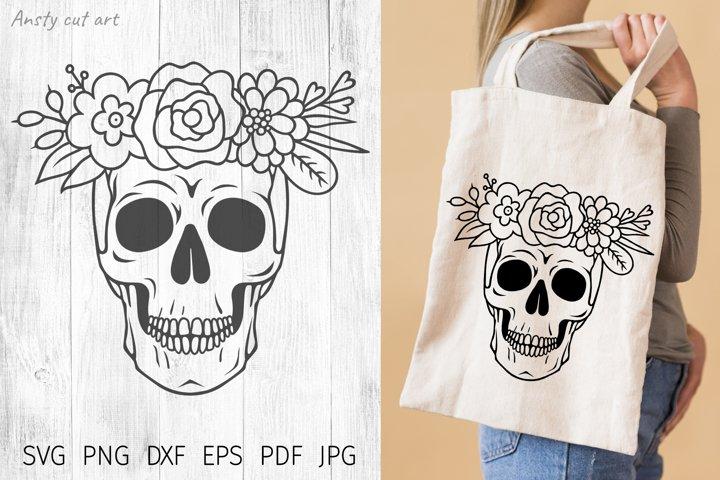 Skull flowers. Skull svg cut files. Floral skull silhouette.