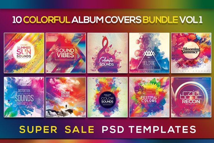 10 Colorful Album Artwork Covers Photoshop Bundle 1
