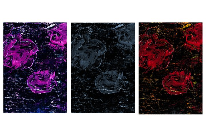 Set of 3 images. Acrylic floral art background.