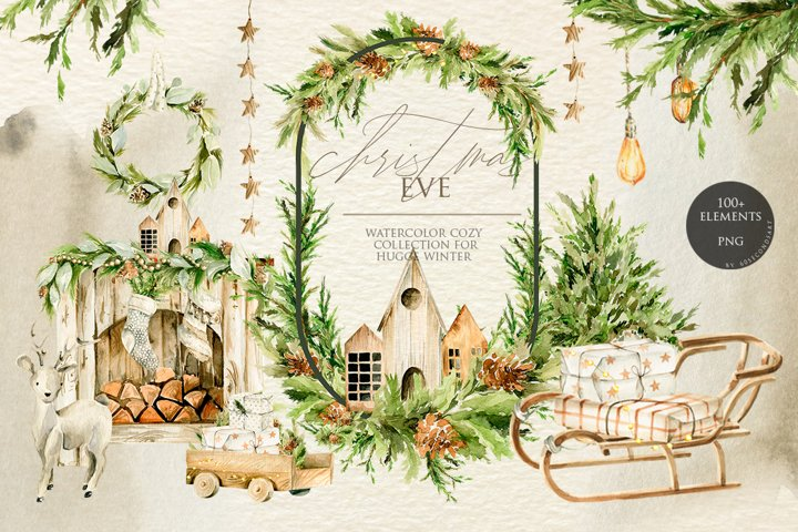 Christmas winter cozy clipart. Watercolor collection
