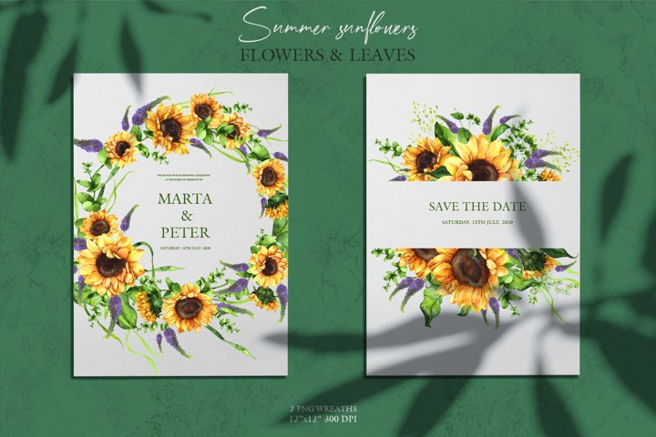Watercolor wreaths of summer