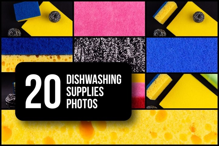 Set of 20 dishwashing supplies photos