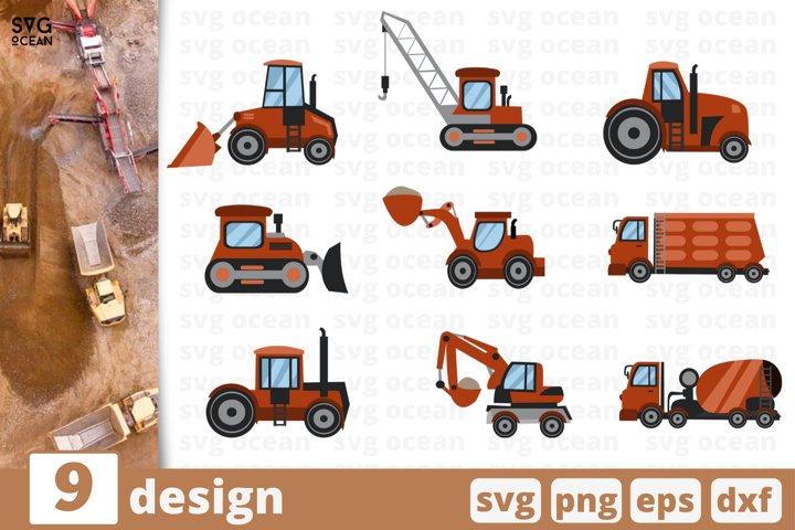 9 CONSTRUCTION VEHICLE SVG BUNDLE | Tractor svg | Excavator