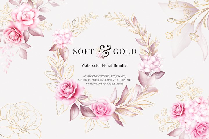 Watercolor Flowers Soft & Gold Clipart Bundle