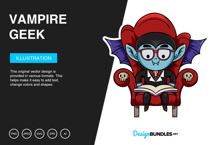 Vampire Geek Vector Illustration