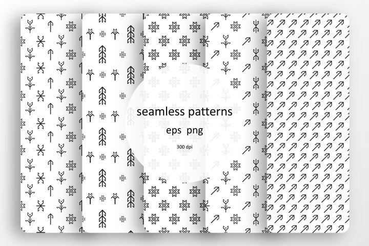 Set of 5 Scandinavian seamless patterns