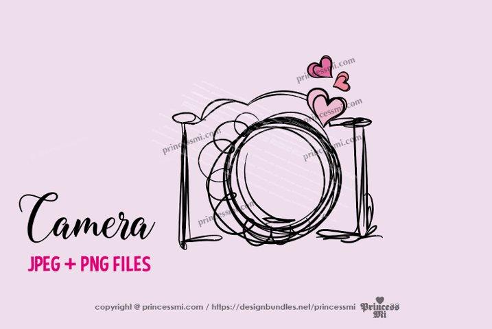 camera clipart - three little hearts
