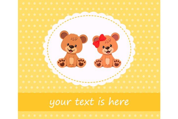 Vector characters cute teddy bears on greeting card