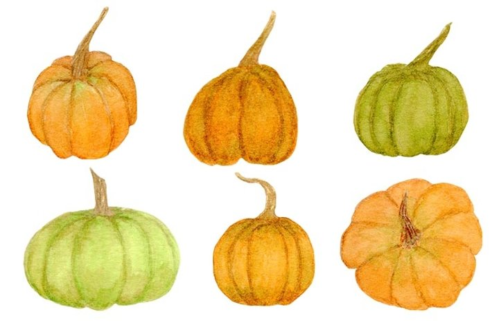 Pumpkins Watercolor Halloween Pumpkins Clipart