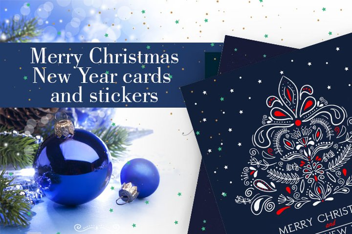 Postcards Merry Christmas and Happy New Year