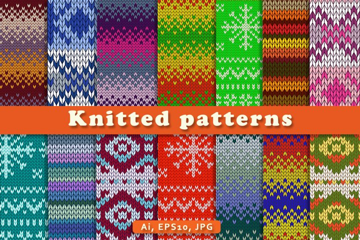 Set of warm knitted patterns