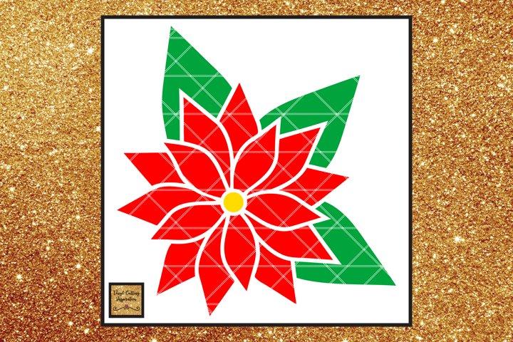 Christmas Svg, Poinsettia Flower Template, Flower svg dxf