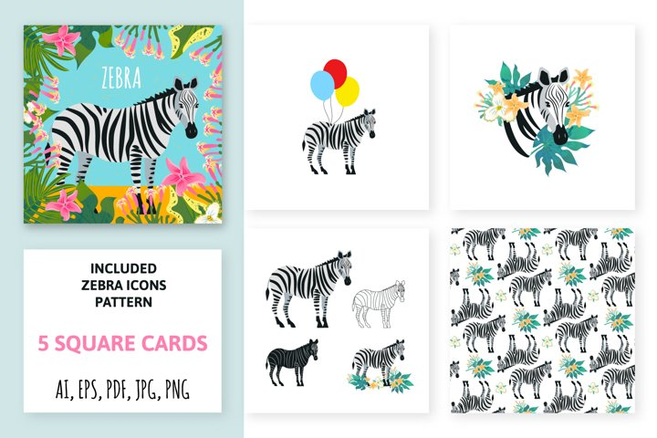 Collection of animal cards. Color zebra.
