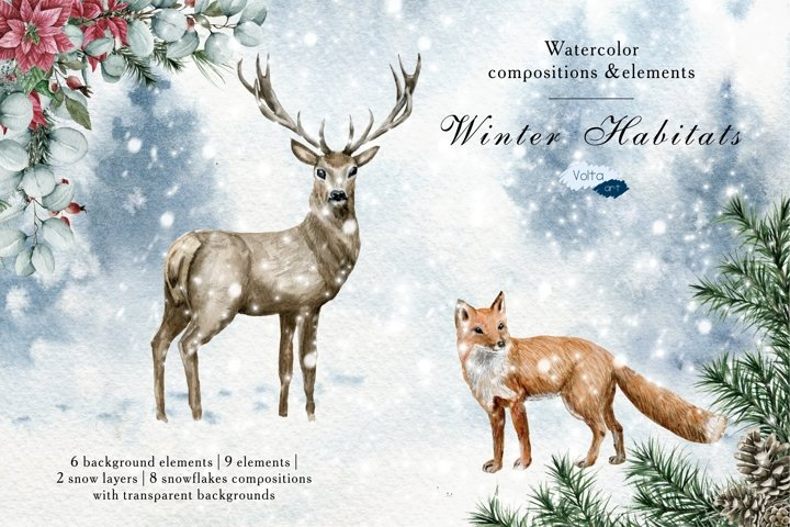 Watercolor Deer, Fox, Wolf, Wild Animals, Christmas Elements