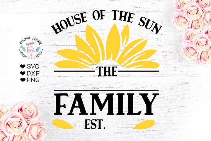 Sunflower Family Name Sign - Last name Frame