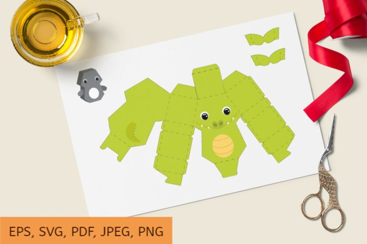 Cute Gift Package Crocodile Template SVG, Gift Box SVG