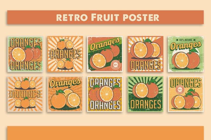 Orange Vintage Retro Signage Poster Vector Set