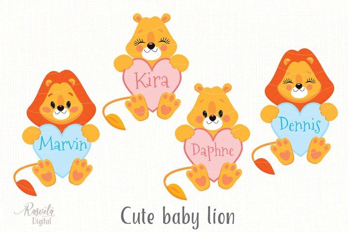 Cartoon Cute Little Animal Lion Clipart 4