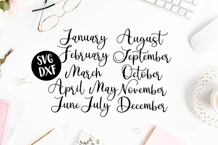 Month Titles Script for Calendar - New Years- SVG DXF PNG