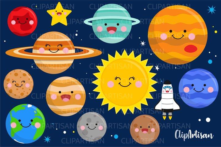 Kawaii Happy Planets Clip Art