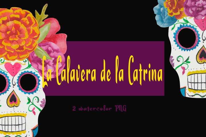 La Catrina PNG. Watercolor day of the dead