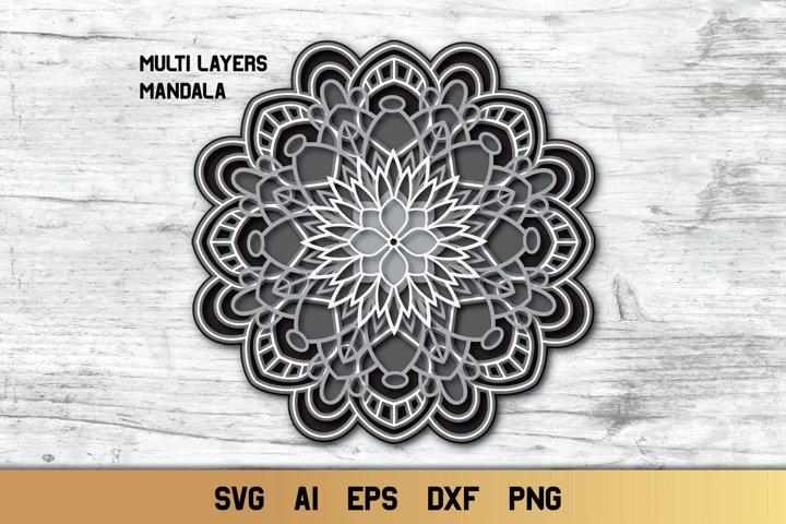 3d Layered Mandala, Multi Layer SVG, Cut File