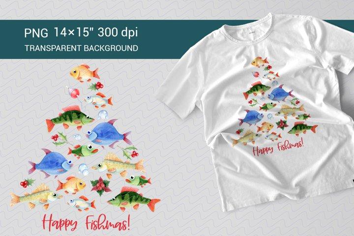 Happy Fishmas. Watercolor for sublimation. Christmas tree