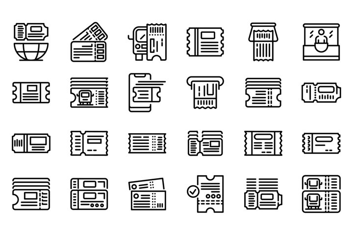 Bus ticketing icons set, outline style