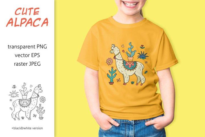 Alpaca Llama sublimation design, cute kids print