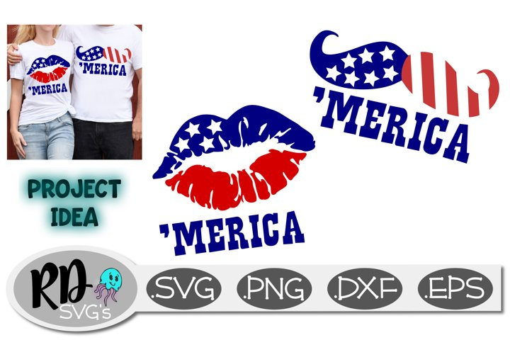 Merica Lips and Mustache - A 4th of July Cricut Cut File