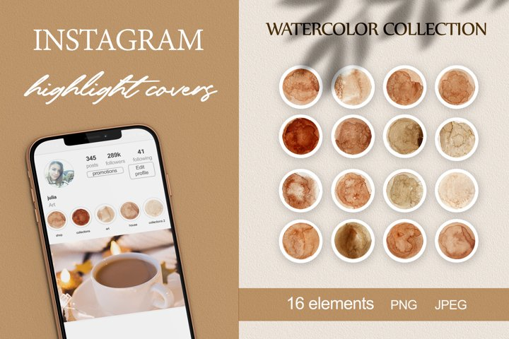 boho instagram story highlight icons watercolor vintage PNG