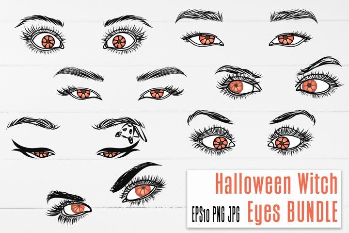 Halloween Witch Eye BUNDLE Pumpkin Color Sublimation design