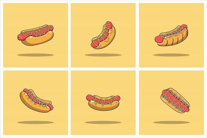Hot Dog Vector Set Flat Illustration