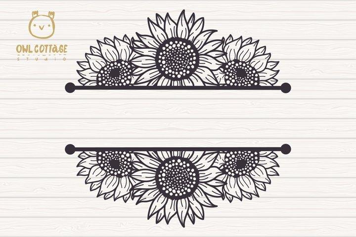 Sunflowers Split Border Monograms Set svg, floral monograms example 2