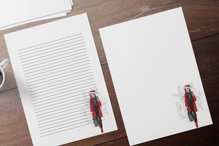 Stylish Girl, Elegant Christmas Stationery Papers