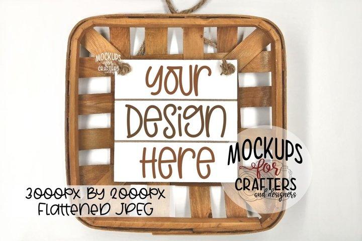 Wood Sign Mock-Up - tobacco basket