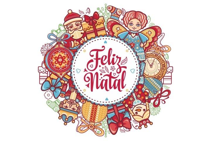 Portuguese Christmas Feliz Natal. Portugal Merry Christmas